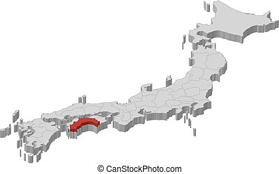 Map - Japan, Kochi - 3D-Illustration - Map of Japan as a...