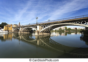 Seville Triana Bridge - View of the Triana Bridge over the...