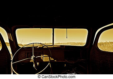 Interior of a very old pickup