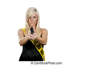 Woman with Gun - Ayoung and beautiful woman holding a...