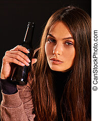 Drunk girl holding bottle of alcohol . - Drunk girl drink...
