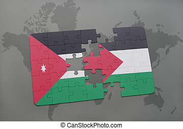 puzzle with the national flag of jordan and palestine on a...