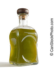 Olive oil bottle on white