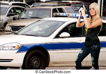 Police Woman - A police woman out protecting and serving the...