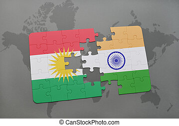 puzzle with the national flag of kurdistan and india on a world map background.