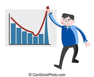 Business man pulling graph upward - Business man pulling...