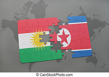 puzzle with the national flag of kurdistan and north korea...