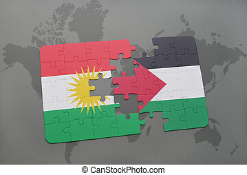 puzzle with the national flag of kurdistan and palestine on...