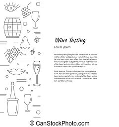 Winemaking, wine tasting graphic design concept -...