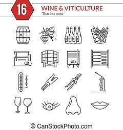 Set of winemaking, wine tasting icons - Set of winemaking...