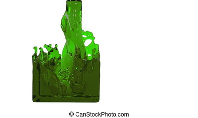 green liquid fills up a container slowly - close-up view of...
