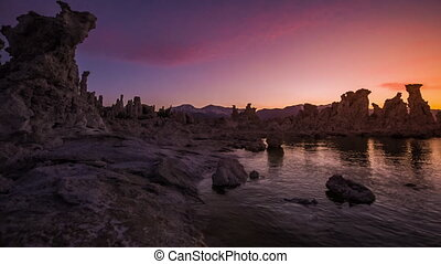 Mono Lake after Sunset - Calm Magenta Sunset Sky reflection...