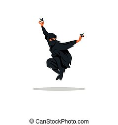 Vector Asian Ninja Cartoon Illustration. Assasin fighter.