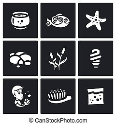 Vector Set of Aquarium Icons Capacity, fish, starfish,...