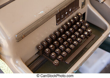 Keyboard of ancient telex - Close up of a Keyboard of...