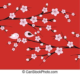 Chinese Lunar New Year with blossom and bird
