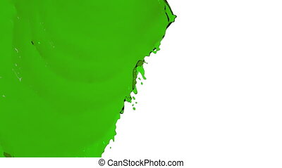 green liquid flows and fills screen slow motion - green...