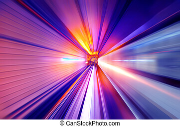 Neon light tunnel - Fast train passing in a neon light...