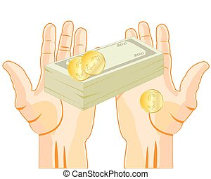Money in hand - Pack of the money and coins in palm of the...