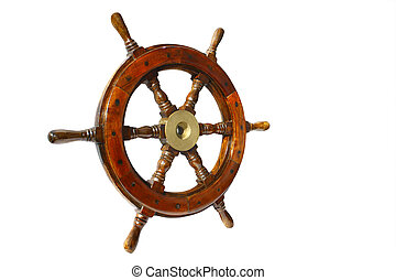 boat wheel - a very  old brown boat steering wheel