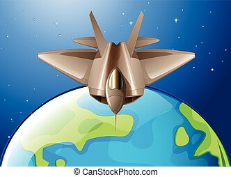 Spaceship flying over the earth