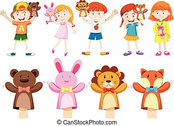 Boys and girls with hand puppets illustration