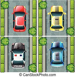 Cars parked on the road
