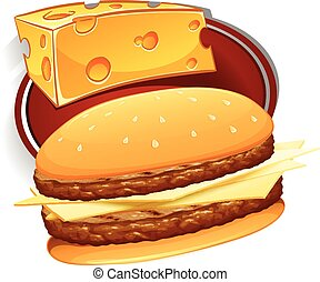 Hamburger with meat and cheese