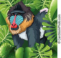 Baboon sitting in the bush illustration