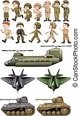 Soldiers and different kinds of transportations illustration