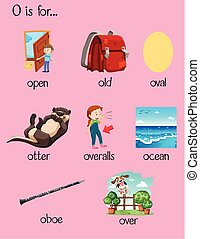 Many words begin with letter O illustration