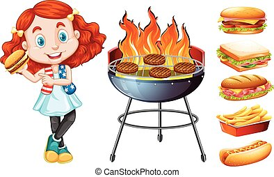 Girl and grill stove with food illustration