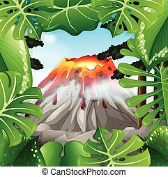 Scene with volcano with lava illustration