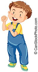 Little boy in jumpsuit smiling illustration