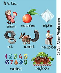 Different words for letter N illustration