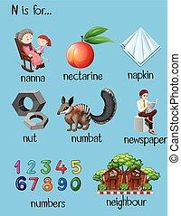 Different words for letter N illustration