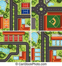 Aerial scenes with roads and sport courts illustration