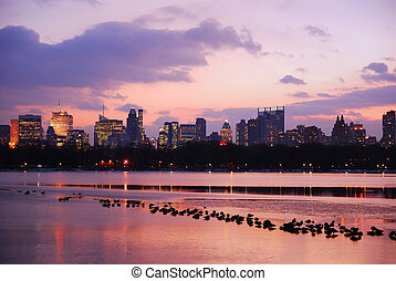 Sunset in Central Park, New York City, over lake with ducks.