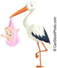 Crane delivering baby girl illustration
