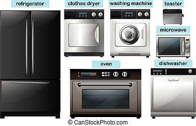 Appliance set with electronic equipment illustration