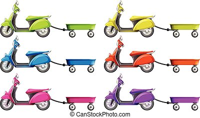Scooters and wagon in different colors illustration