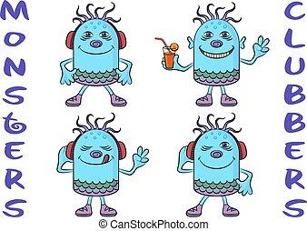 Cartoon Monsters Set - Set of Cute Cartoon Monsters...