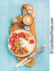 Breakfast set Warm homemade belgium waffles with whipped...