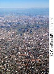 Phoenix Aerial View, Arizona, with buildings and CamelBack...
