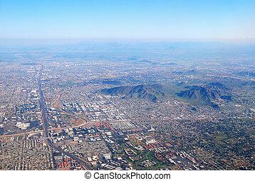 アリゾナ, 航空写真, 都市, フェニックス, 光景