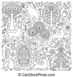 Wonderland Fun Forest - Pattern of doodle forest animals and...