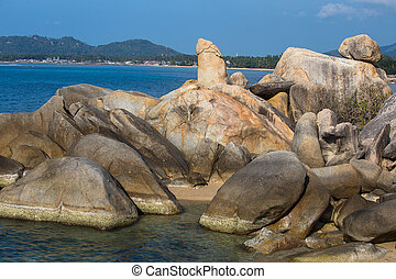 Bizarre rock , hin ta hin yai, very famous landmark of...