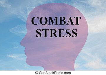 COMBAT STRESS mental concept - Render illustration of...