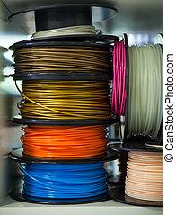 3D Printer ABS Plastic Filament - Close up of 3D Printer ABS...