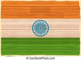 Indian Flag with wooden texture